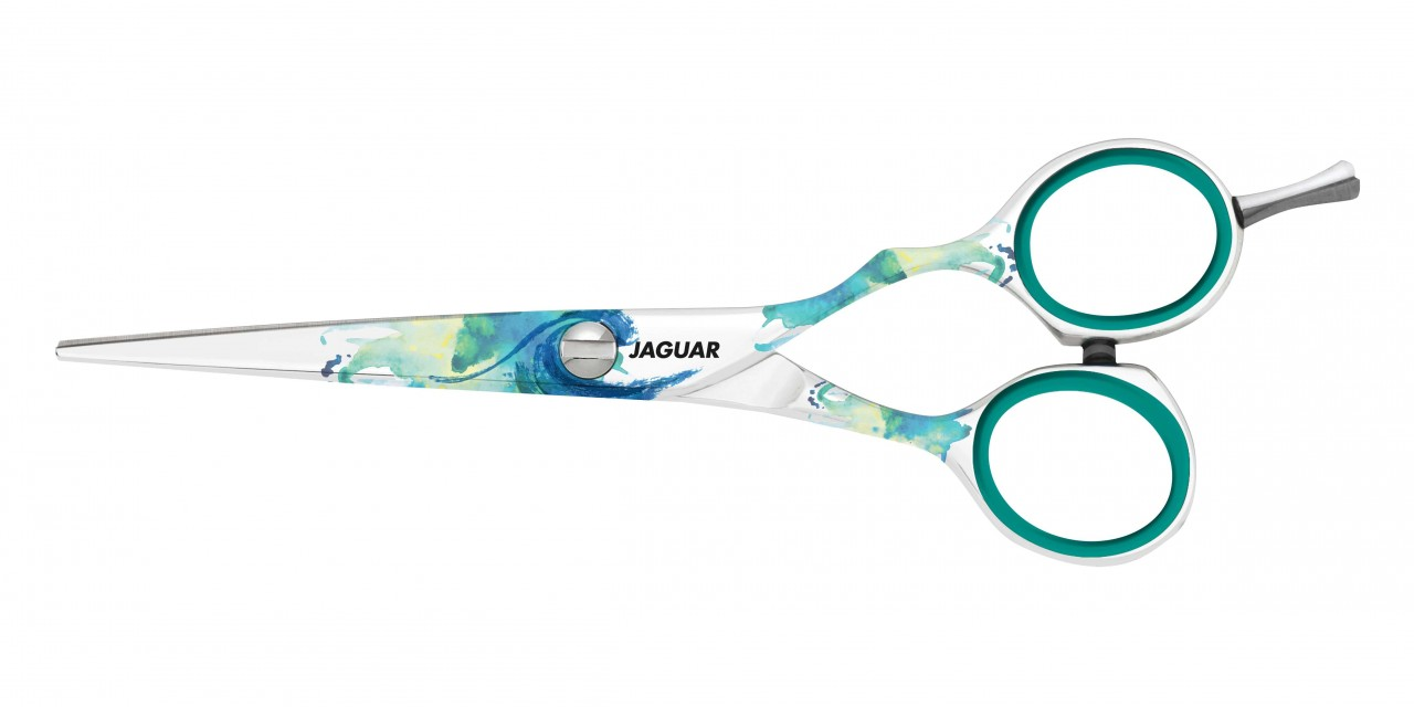 Friseurschere JAGUAR SPLASH mit turquoise Fingerringen