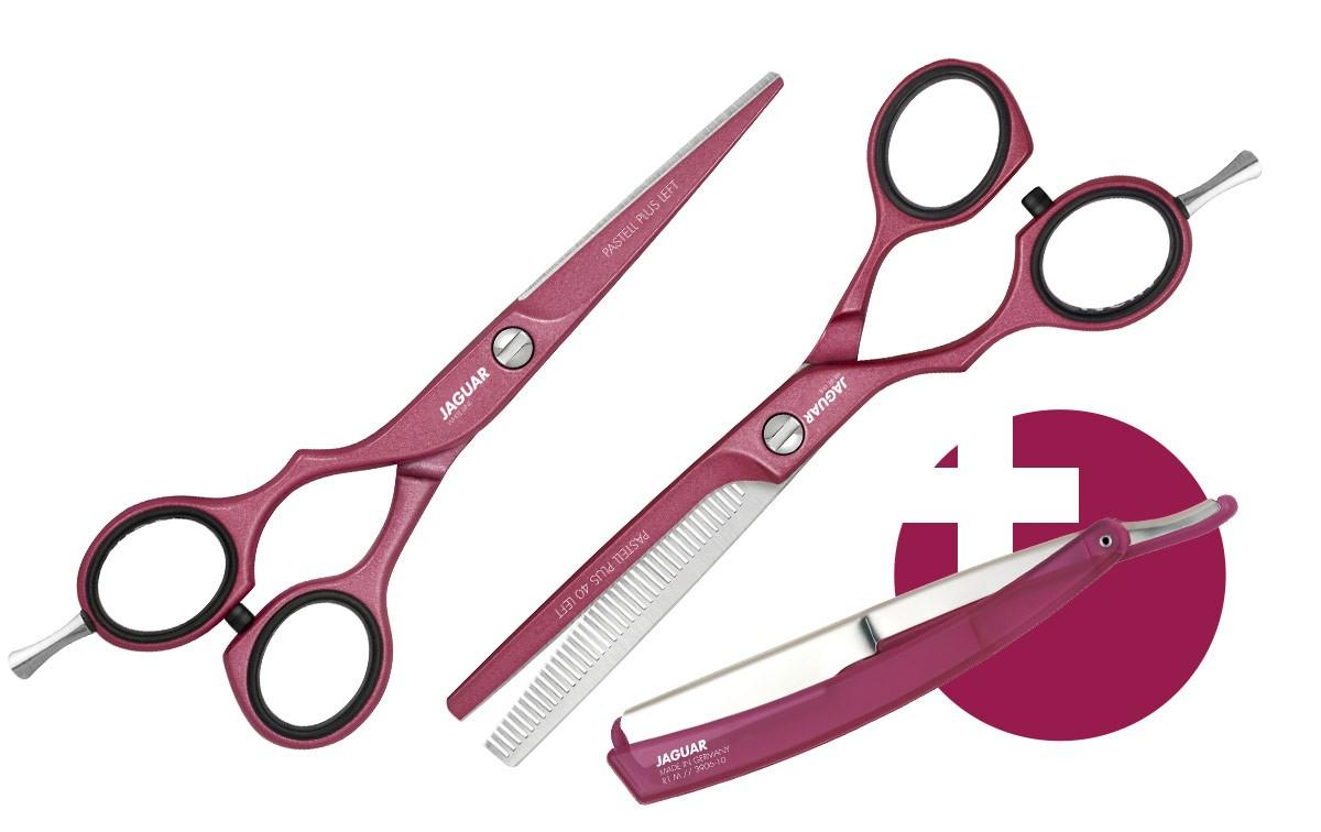 Friseurscheren Set JAGUAR PASTELL PLUS OFFSET BERRY LEFT + R1 M Rasiermesser