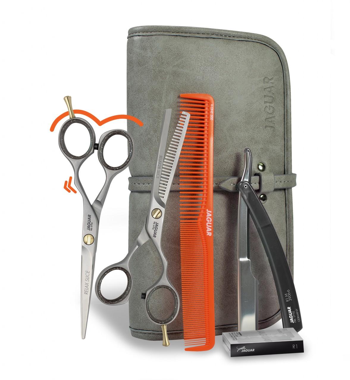 """BASIC SET """"GET READY"""" SLICE mit Haarschere, Modellierschere, Kamm, Rasiermesser, Klingen und Werkzeugtasche"""